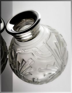 STUNNING  Huge 1920s German ART DECO High Style SILVER & GLASS VASE