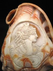 ANTIQUE HAND CARVED CONCH SHELL CAMEO GRECIAN MAIDEN MOON GODDESS #2