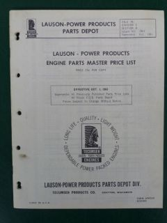 1963 LAUSON POWER PRODUCTS DEALER ENGINE MASTER PARTS PRICE LIST
