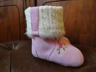 New Pink Fur Baby Deer Infant Baby Girl Casual Winter Boots sz 1