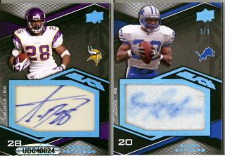 ADRIAN PETERSON BARRY SANDERS 2009 UD Black Dual Auto Jersey Patch SP