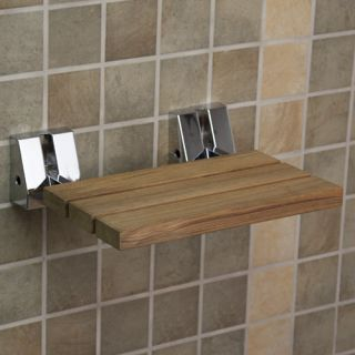 Wall Mount Teak Wood Folding Shower Seat Chrome