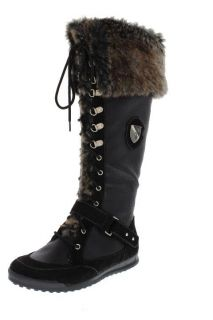 Baby Phat Uma Black Faux Fur Fold Over Signature Knee High Boots Shoes