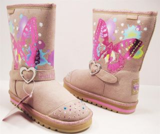 New Skechers Twinkle Toes Boots Keepsakes Butterfly Dreams Girls Youth
