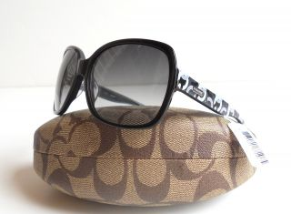 Coach Women Black Gray Gradient Signature Op Art Logo Sunglasses Case