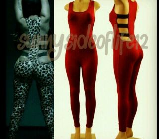 Nicki Minajs Beez in Tha Trap Catsuit Bodysuit Size Large Solid Red