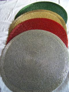 Glass Beaded Round Placemats   Red, Green, Gold & Silver for Christmas