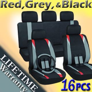 16pc Set Red Gray Black Auto Car Seat Covers Steering Wheel Belt Pad