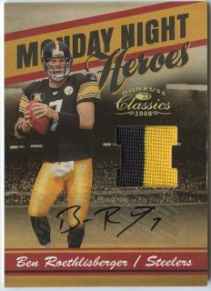 BEN ROETHLISBERGER 2008 CLASSICS STEELERS 2 COLOR PATCH AUTO JERSEY 7
