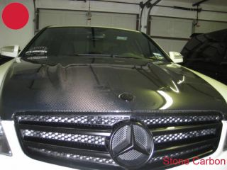 benz c63 amg carbon fiber oem hood bonnet no vents