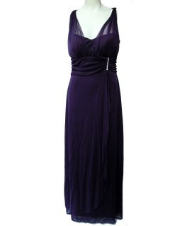 Betsy Adam Dress Sleeveless Ruched Jeweled Empire Waist Evening Gown