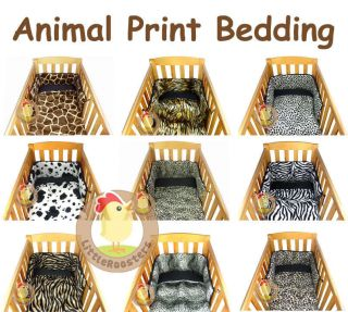 FAUX FUR ANIMAL PRINT BABY COT/ COT BED QUILT AND BUMPER BEDDING SET