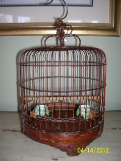 ANTIQUE SANDAL WOOD BAMBOO ASIAN BIRD CAGE WITH PORCELAIN FEEDER CUPS