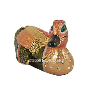 Mandarin Duck Bird Trinket Box w Swarovski Crystals New