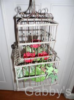 Rustic Metal Hanging Bird Cage with Fake Plant Decor 16 Tall