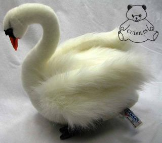 Swan Bird White Hansa Stuffed Animal Plush Toy White Realistic Sitting