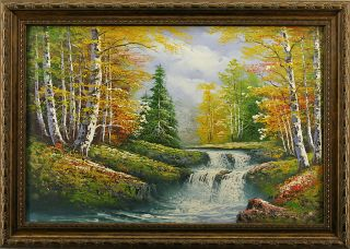 Birch Trees River Autumn Forest Landscape Art FRAMED OIL PAINTING