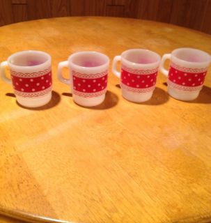Anchor Hocking Fire King Mugs Cups Glasses Christmas Polka Dot Red