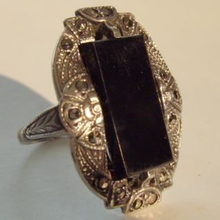Art Deco Black Onyx Marcasite and Sterling Ring Sz 4 1 2