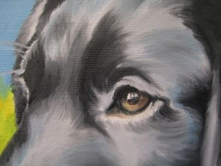 Original Oil Painting Noewi Dog Puppy Black Labrador Portrait