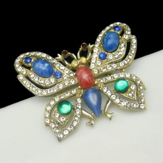 Large Figural Butterfly Brooch Pin Glass Stones Rhinestones Blue Green
