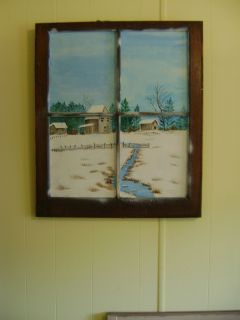 Original Acrylic Painting on Antique Window Frame Winter Snow with