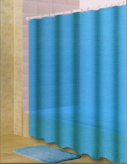 Icey Blue Heavy Vinyl Shower Curtain w Matching Hooks