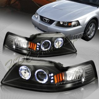 99 04 Ford Mustang Black Halo Projector Headlight Lamps 2in1 Corner