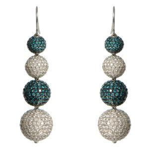 Yellow Gold Fine Pave Blue White Diamond Earrings Designer Jewelry