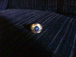 Mens 14k Blue Star Sapphire Wedding Ring with with Diamonds