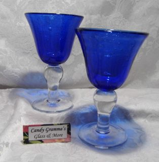 Cobalt Blue Hand Blown Wine or Water Glass Set of Two