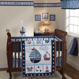 Blue Sail Boat Themed 3pc Baby Boy Nursery Water Crib Bedding Set