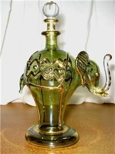 Elephant Mouth Blown Egyptian Perfume Bottle Green Gold