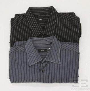 Boss Hugo Boss Mens 2pc Slate Black Oxford Shirt Set Size XL 16 5