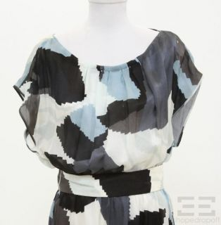 Boss Hugo Boss Blue Black Print Silk Belted Cap Sleeve Dress Size US 8