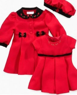 NWT Bonnie Baby Girl 3 Pcs Dress Coat Set Red 12 month