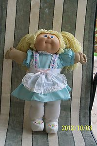 Vtg Cabbage Patch Kids Doll 1978 82 Blond Hair Blue Eyes Dressed VGC