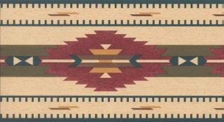 Wallpaper Border Southwest Indian Rug Blue Red Green Gold Brown on Tan