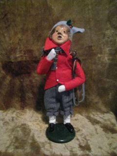 Byers Choice Carolers Boy w Wooden Ice Skates 1988