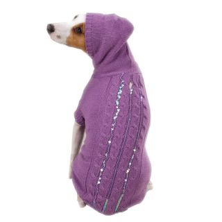 Lavendar Sequined Hoodie Dog Sweater Clothes XXS Teacup Pet Smoke Free