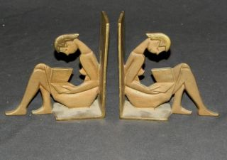 vintage very art deco solid brass bookends french the