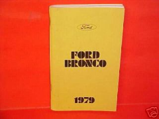 1979 Ford Bronco Owners Manual Service Book Canada