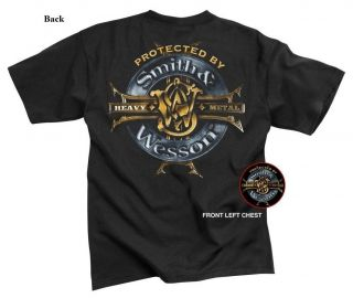 Smith & Wesson Heavy Metal T shirt Pistol Handgun Police Army and Navy