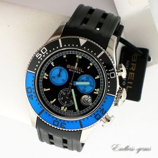 BREIL MILANO SWISS MADE WATCH MANTA 1970 BLUE BLACK AND SILVER TONE
