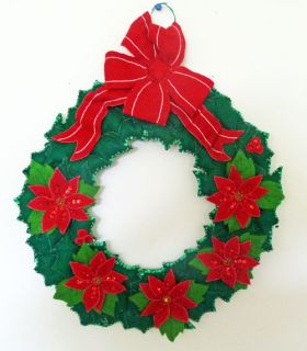 Hand Made Crafted Quilted Felt Puffed Leaf Poinsettia Sequin Christmas