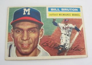 Topps 1956 Bill Bruton Trading Card 185 Milwaukee Braves
