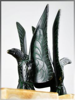 Rare 1930s French ART DECO BRONZE EAGLE Bookends  MAX LE
