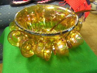 INDIANA Glass AMBER Irridescent CARNIVAL Glass PUNCH BOWL & 10 CUPS w