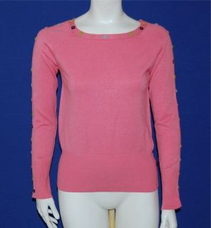 BCBG MAXAZRIA Womens Bubblegum Pink Pullover Button Sweater Size M (8
