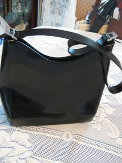 FRANCESCO BIASIA BLACK LEATHER STRUCTURED TAILORED SHOULDER BAG   MADE